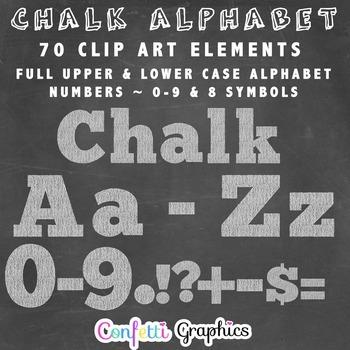 Chalk Alphabet Clip Art Upper Lower Case Alpha Numbers Sym