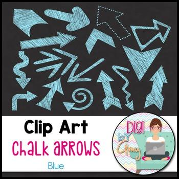 Chalk Arrows Clip Art - Blue