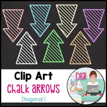 Chalk Arrows Clip Art - Diagonal 1