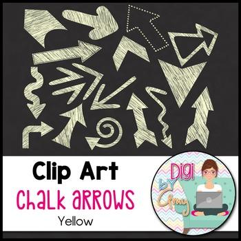 Chalk Arrows Clip Art - Yellow