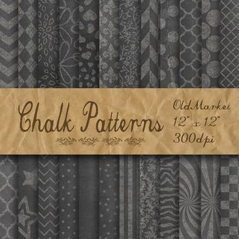Chalk Digital Paper Pack - Patterned Chalkboard Background