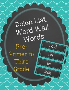 Chalk board theme word wall words- Dolch List- Grades K-3