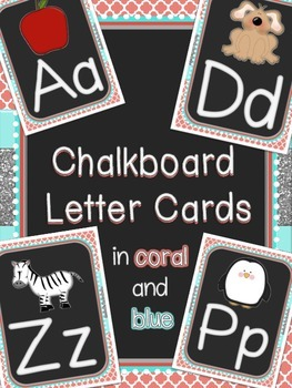 Chalkboard Alphabet Cards (Print) - Coral and Blue