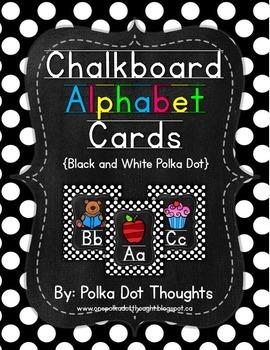 Chalkboard Alphabet Posters {Black and White Polka Dot}