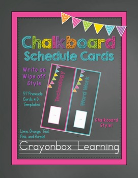 Chalkboard Digital Schedule Cards with Editable Templates
