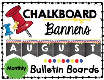 Chalkboard Banners - Monthly - Entire Year - Bulletin Board