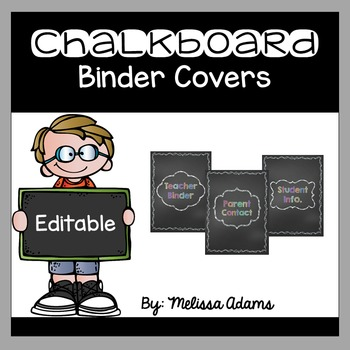 Editable Chalkboard Binder Covers and Spines