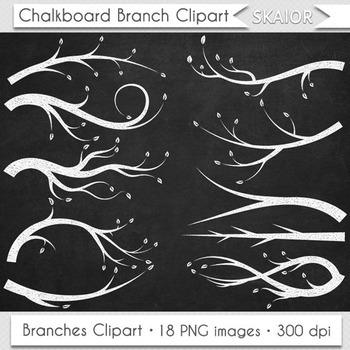 Chalkboard Branches Clipart Trees Leaves Branch Clip Art S
