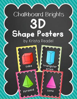 Chalkboard Brights 3D Shape Posters {Rainbow}