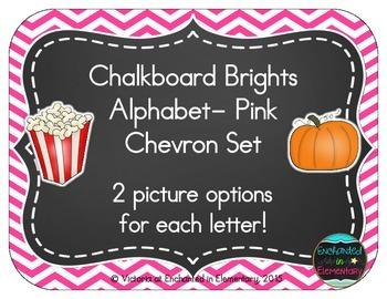 Chalkboard Brights Alphabet Cards: Pink Chevron Set