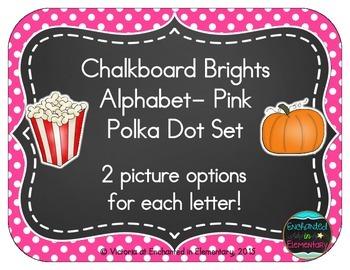 Chalkboard Brights Alphabet Cards: Pink Polka Dot Set