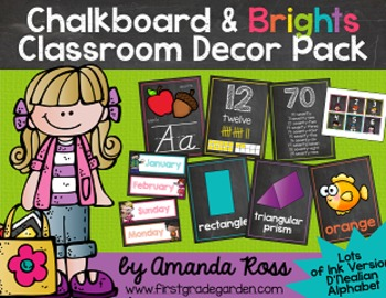 Chalkboard & Brights Classroom Decor Pack {Lots of Ink Ver