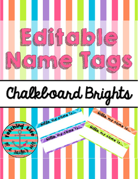 Chalkboard Brights Editable Name Tags