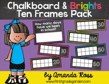 Chalkboard & Brights How Many Days of School? Ten Frames