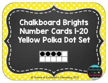 Chalkboard Brights Number Cards 1-20- Yellow Polka Dot Set