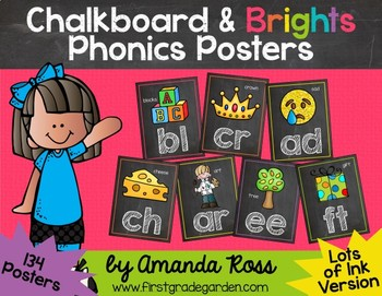 Chalkboard & Brights Phonics Posters {Lots of Ink Version}