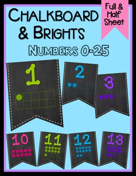 Chalkboard & Brights Ten Frame Numbers 0-25