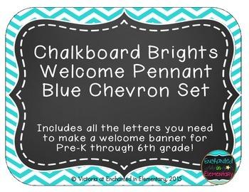 Chalkboard Brights Welcome Pennant- Blue Chevron Set