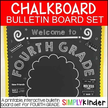 Chalkboard Bulletin Board - First Day of Fourth Grade - Ba