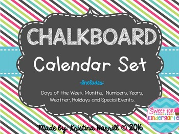 Chalkboard Calendar Set {Turquoise, Pink, and Lime Green}