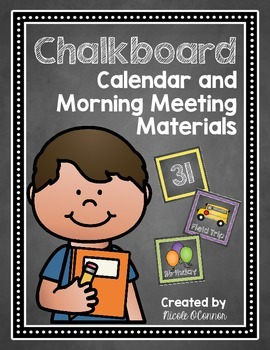 Chalkboard Calendar and Morning Meeting Materials