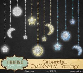 Chalkboard Celestial String Lights Clipart