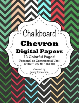 Chalkboard Chevron Digital Papers! Personal/Commercial Use