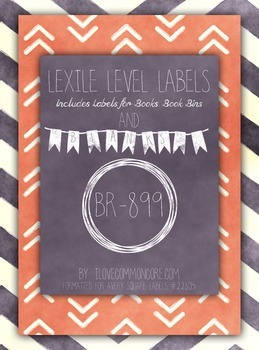 Chalkboard Chevron Pink Lexile Level Labels for Books and