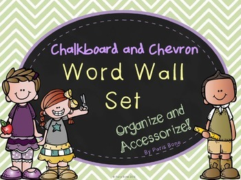 Word Wall Header Set: Chalkboard & Chevron Theme- Six Colo