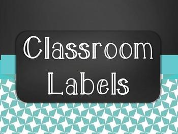 Chalkboard Classroom Supply Label Set - Blue Star