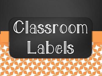Chalkboard Classroom Supply Label Set - Orange Star