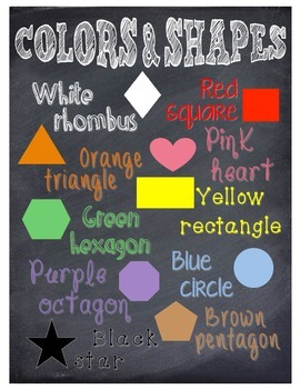 Chalkboard Colors & Shapes poster