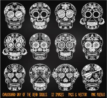 Chalkboard Day of the Dead Skulls Clipart Clip Art, Chalk