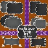 Chalkboard Doodle Frames Set 4 for Commercial Use