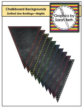 Chalkboard Dotted Line Bunting Backgrounds - Brights - Banner