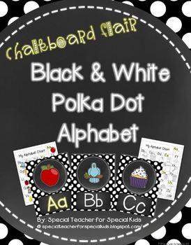 Chalkboard Flair Black and White  Polka Dot Alphabet Posters