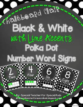 Chalkboard Flair - Black & White Polka Dot (With Lime) Num