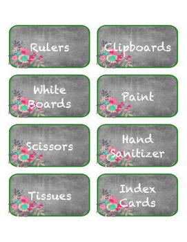 Chalkboard Floral Supply Labels
