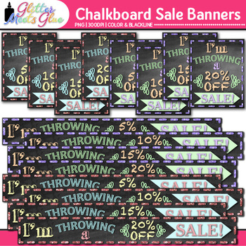Chalkboard Sale Banners Clip Art {Design TPT Store Signs f