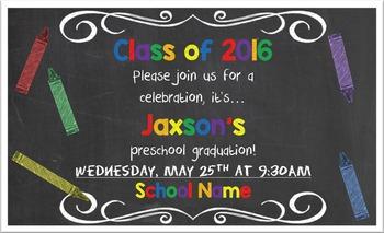 Chalkboard Graduation Invitation Preview (pdf)