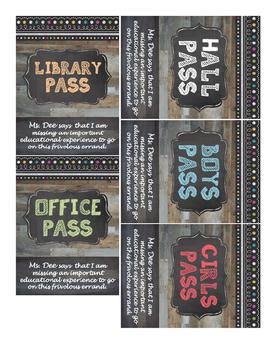 Chalkboard Hall Pass