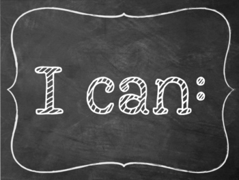 "Chalkboard ""I can"" statements kindergarten Math - preview"