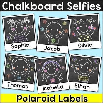 Chalkboard Theme Name Tags & Locker Labels - Polaroid Selfies