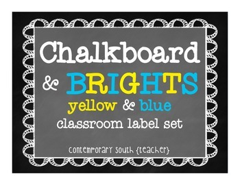 Chalkboard Labels {blue and yellow}