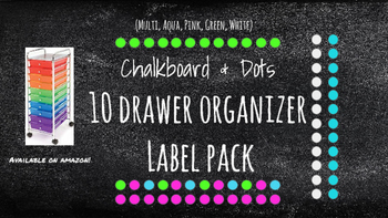 Chalkboard Bright Labels for 10-Drawer BUNDLE (Pink, Aqua,