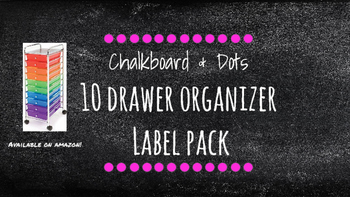 Chalkboard Bright Labels for 10-Drawer Organizer (Pink Dots)