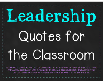 Chalkboard Leadership Quotes - INCLUDES OFFER OF 3 CUSTOM QUOTES