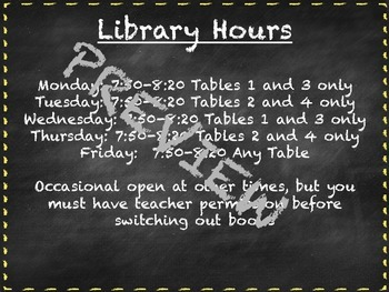 Chalkboard Library Rules and Hours Posters- Editable