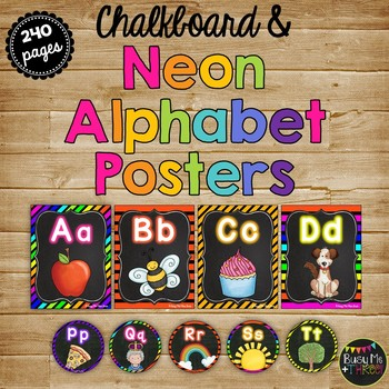 Chalkboard & NEON Alphabet Letter Posters and Word Wall Labels