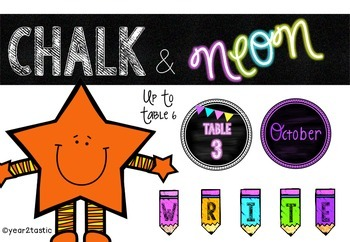 Chalkboard & Neon- Class Set 1 {year2tastic}